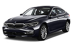 2018 BMW 6 Series Gran Turismo Luxury 5 Door Hatchback angular front stock photos of front three quarter view