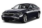 2018 BMW 6 Series Gran Turismo Luxury 5 Door Hatchback angular front stock photos of front three quarter view