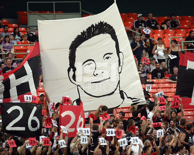 Fans display a banner and the number 26 in honor of Bryan Namoff #26 of D.C. United during an MLS match against Real Salt Lake at RFK Stadium, on June 5 2010 in Washington DC. The game ended in a 0-0 tie.