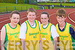 Gneeveguilla AC competitors at the Kerry AAI Juvenile Championships in Castleisland on Friday l-r: Julie O'Sullivan, Aidan O'Sullivan, Hannah O'Sullivan and Tadgh Moore