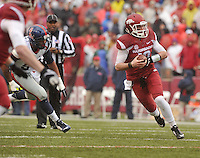 NWA Media/Michael Woods --11/22/2014-- w @NWAMICHAELW...University of Arkansas quarterback Brandon Allen scrambles out of the pocket as he runs for a gain in the 1st quarter of Arkansas 30-0 win over Ole Miss during Saturdays game at Razorback Stadium.