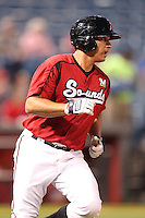 Nashville Sounds catcher Mike Rivera #11 runs to first during a game against the Omaha Storm Chasers at Greer Stadium on April 25, 2011 in Nashville, Tennessee.  Omaha defeated Nashville 2-1.  Photo By Mike Janes/Four Seam Images