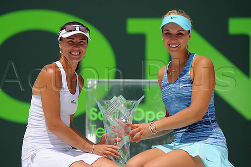30.03.2014. Miami, Florida, USA.  Martina Hingis (SUI) Sabine Lisicki (GER) win the womens doubles final. Sony Open Tennis - Miami
