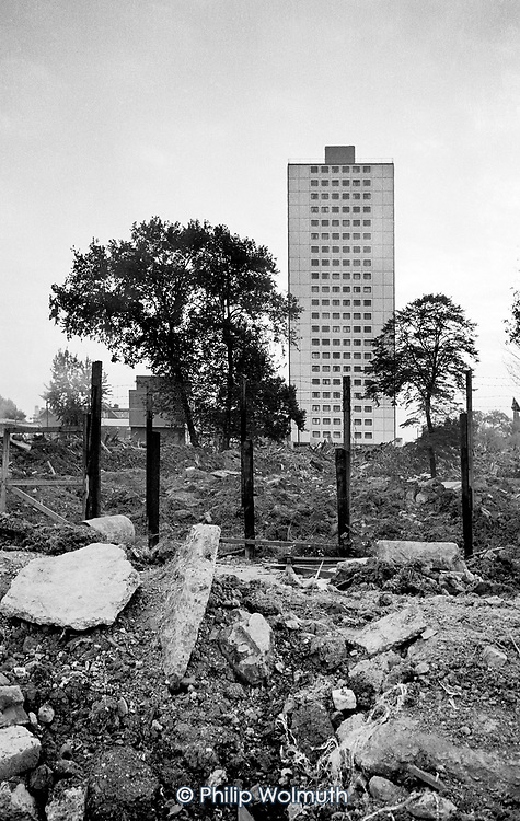 Demolished Victorian houses on Elgin Avenue overlooked by Hermes Point, one of two asbestos-ridden towers on Elgin Estate, North Paddington, London.