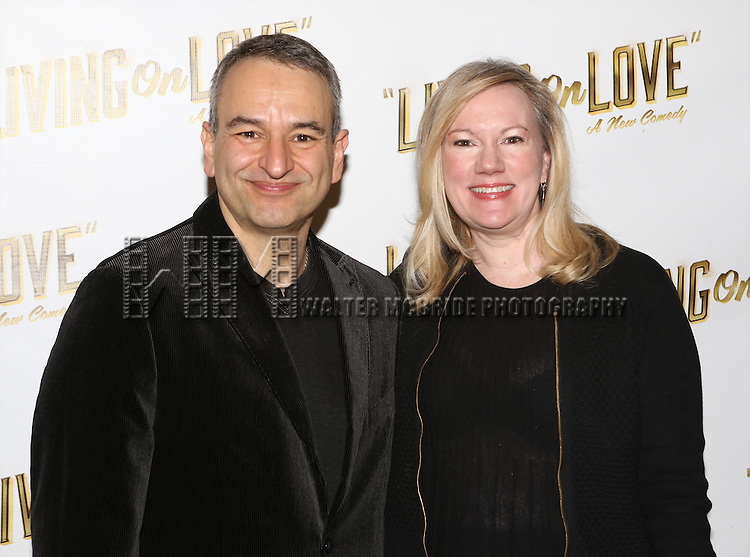 Playwright Joe DiPieto and director Kathleen Marshall attends the 'Living on Love' photo call at the Empire Hotel on March 12, 2015 in New York City.