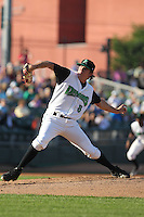 Dayton Dragons pitcher Tanner Robles #8 delivers a pitch during a game against the Lake County Captains at Fifth Third Field on June 25, 2012 in Dayton, Ohio. Lake County defeated Dayton 8-3. (Brace Hemmelgarn/Four Seam Images)