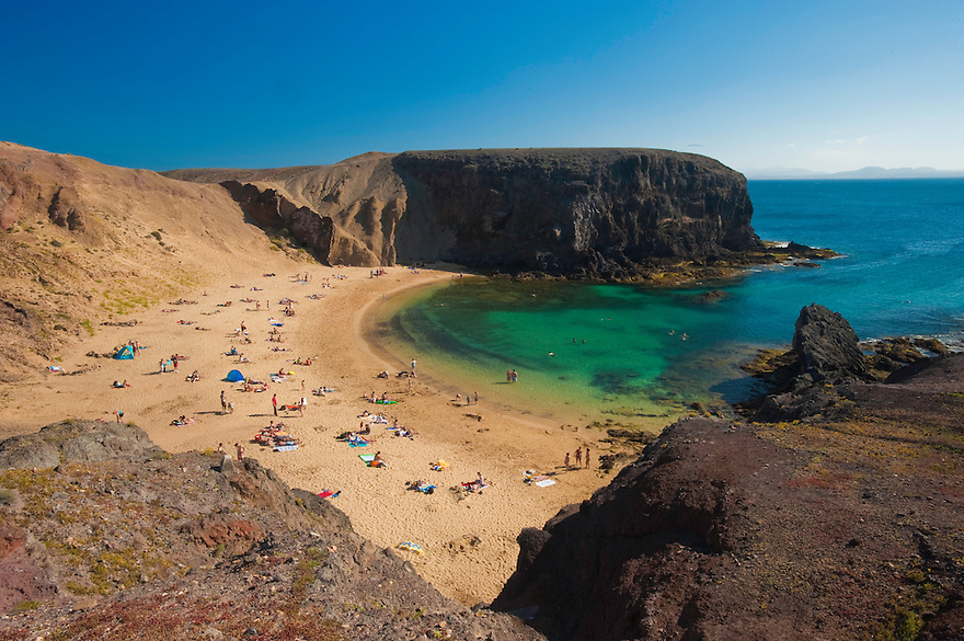 Papagayo beach in Lanzarote Island, Canary Islands, Spain.