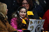 5th February 2019, Rodney Parade, Newport, Wales; FA Cup football, 4th round replay, Newport County versus Middlesbrough; A young Newport County fan holds a sign for Padraig Amond of Newport County before the game