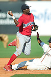 Lakewood second baseman Avelino Asprilla turns a double play versus Greensboro at First Horizon Park in Greensboro, NC, Sunday, July 16, 2006.  The Grasshoppers defeated the BlueClaws 7-4.