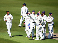 PICTURE BY VAUGHN RIDLEY/SWPIX.COM - Cricket - County Championship Div 2 - Yorkshire v Kent, Day 1 - Headingley, Leeds, England - 05/04/12 - Yorkshire's Andrew Gale celebrates with teammates after running out Kent's Robert Key.