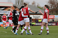 Vivianne Miedema of Arsenal scores the sixth goal for her team and celenrates with her team mates during Arsenal Women vs Bristol City Women, Barclays FA Women's Super League Football at Meadow Park on 1st December 2019