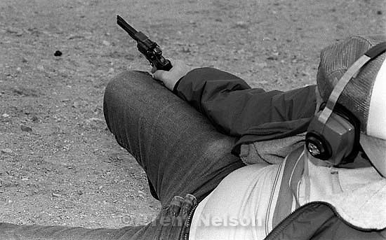 Steve Nelson shooting guns with his long-range technique in the desert.  &amp;#xA;<br />