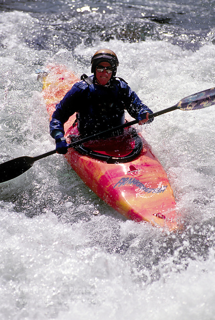 Woman kayaking on the Yuba River