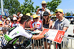 Mark Cavendish (GBR) Team Dimension Data with fans at sign on before the start of Stage 2 of the 2018 Tour de France running 182.5km from Mouilleron-Saint-Germain to La Roche-sur-Yon, France. 8th July 2018. <br /> Picture: ASO/Alex Broadway | Cyclefile<br /> All photos usage must carry mandatory copyright credit (&copy; Cyclefile | ASO/Alex Broadway)