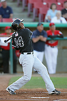 Francisco Peguero of the San Jose Giants during game against the High Desert Mavericks at Mavericks Stadium in Adelanto,California on June 16, 2010. Photo by Larry Goren/Four Seam Images