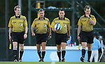 11 October 2007: Match officials take the field. From left: Assistant Referee Ben Jackson, Fourth Official Daniel Burak, Referee Jeffrey Gontarek, Assistant Referee Jude Carr. The University of North Carolina Tar Heels defeated the Duke University Blue Devils 2-1 at Fetzer Field in Chapel Hill, North Carolina in an Atlantic Coast Conference NCAA Division I Women's Soccer game.