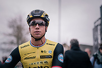pre-rac favorite Dylan Groenewegen (NED/LottoNL-Jumbo) at the start in Terneuzen<br /> <br /> 106th Scheldeprijs 2018 (1.HC)<br /> 1 Day Race: Terneuzen (NED) - Schoten (BEL)(200km)