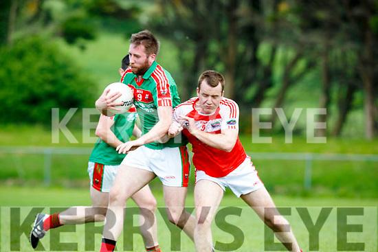 Bang Darragh O'Sullivan Dingle shoulders Kevin Gorman Kilcummin during their SFC relegation play off in Killorglin on Sunday