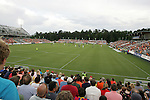 29 May 2012: A sold out crowd of over 7,000 cheers on the home team. The Carolina RailHawks (NASL) played the Los Angeles Galaxy (MLS) at WakeMed Soccer Stadium in Cary, NC in a 2012 Lamar Hunt U.S. Open Cup third round game.