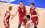 07 MAY 2016: Christy Blough (5) and Nicolas Szerszen (9) of Ohio State University celebrate after a winning point against Brigham Young University during the Division I Men's Volleyball Championship held at Rec Hall on the Penn State University campus in University Park, PA.  Ohio State defeated BYU 3-1 for the national title.  Ben Solomon/NCAA Photos