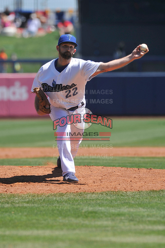 Tulsa Drillers pitcher Colt Hynes (22) throws in relief during a game against the Arkansas Travelers at Oneok Field on May 21, 2017 in Tulsa, Oklahoma.  The Drillers won 13-6. (Dennis Hubbard/Four Seam Images)