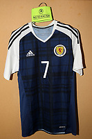 Oliver Burke's shirt along with the captain's armband in the Scotland dressing room prior to kick-off during England Under-18 vs Scotland Under-20, Toulon Tournament Semi-Final Football at Stade Parsemain on 8th June 2017