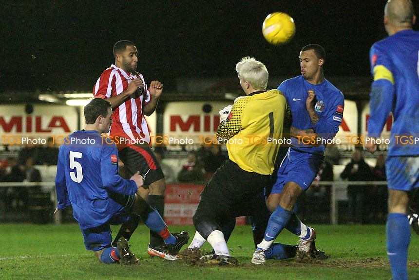 Michael Spencer goes close to a goal for Hornchurch - AFC Hornchurch vs Harrow Borough - Ryman League Premier Division Football at The Stadium, Upminster Bridge - 10/01/12 - MANDATORY CREDIT: Gavin Ellis/TGSPHOTO - Self billing applies where appropriate - 0845 094 6026 - contact@tgsphoto.co.uk - NO UNPAID USE.