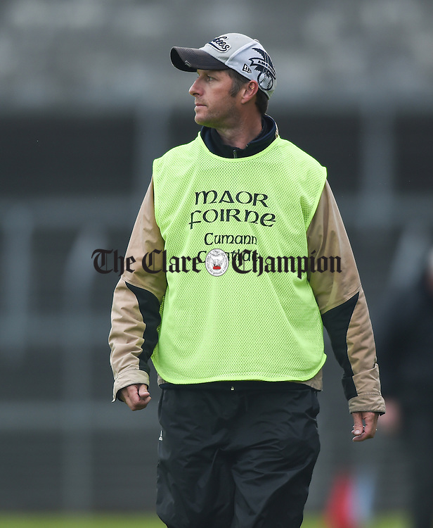 Cratloe selector Alan Neville on the sideline against Ballyea during their match in Ennis. Photograph by John Kelly.