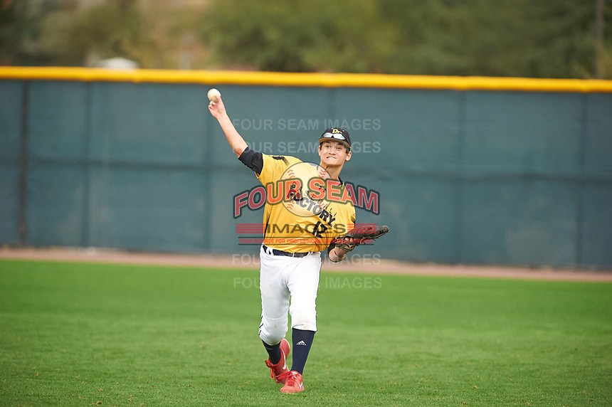 Ryan Wiese (12) of Juanita HS High School in Kirkland, Washington during the Under Armour All-American Pre-Season Tournament presented by Baseball Factory on January 15, 2017 at Sloan Park in Mesa, Arizona.  (Zac Lucy/MJP/Four Seam Images)