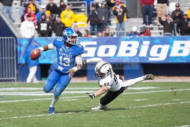 Jalen Whitlow, freshman quarterback during the second half of the UK vs. Vanderbilt football game at Commonwealth Stadium, Photo by Adam Chaffins