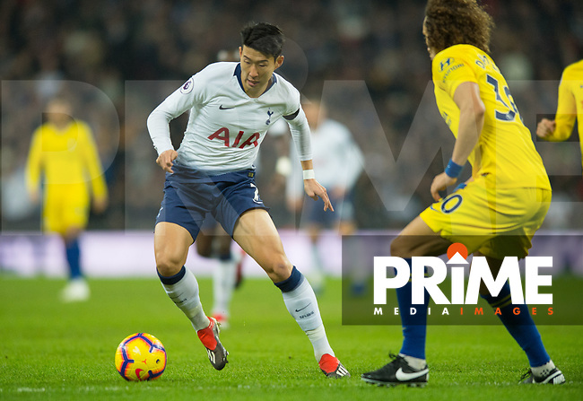 Tottenham's Heung-Min Son during the Premier League match between Tottenham Hotspur and Chelsea at Wembley Stadium, London, England on 24 November 2018. Photo by Andrew Aleksiejczuk / PRiME Media Images.