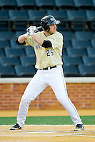 Matt Conway (25) of the Wake Forest Demon Deacons at bat against the North Carolina State Wolfpack at Wake Forest Baseball Park on March 15, 2013 in Winston-Salem, North Carolina.  The Wolfpack defeated the Demon Deacons 12-6.  (Brian Westerholt/Four Seam Images)