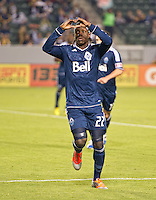 CARSON, CA - November 1, 2012: Vancouver forward Darren Mattocks (22) celebrates his goal during the LA Galaxy vs the Vancouver Whitecaps FC at the Home Depot Center in Carson, California. Final score LA Galaxy 2, Vancouver Whitecaps FC 1.