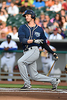 Mobile BayBears first baseman Jon Griffin #45 swings at a pitch during a game against the Tennessee Smokies at Smokies Park on May 23, 2014 in Kodak, Tennessee. The BayBears defeated the Smokies 7-1. (Tony Farlow/Four Seam Images)