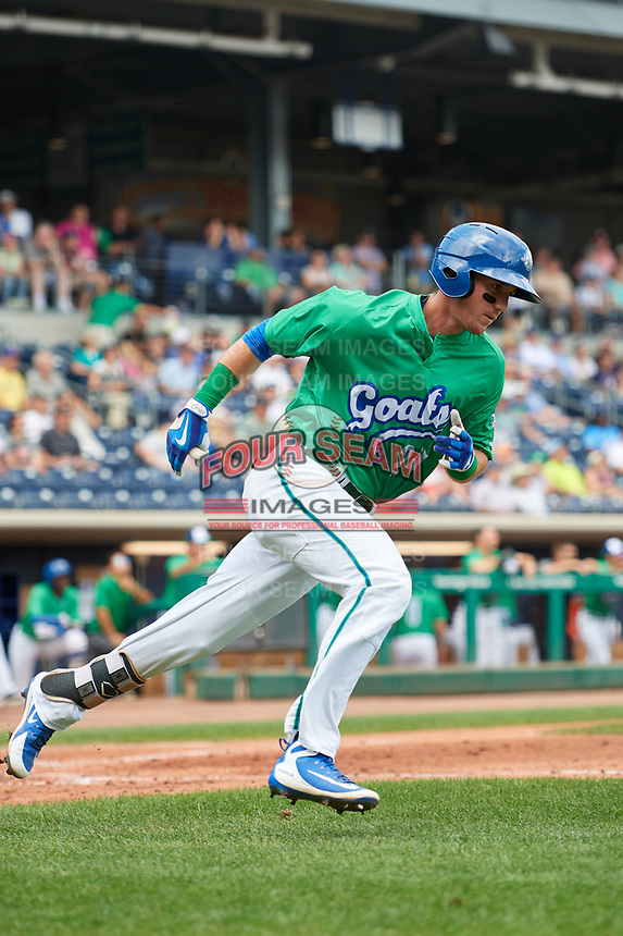 Hartford Yard Goats left fielder Drew Weeks (24) runs to first base during a game against the Trenton Thunder on August 26, 2018 at Dunkin' Donuts Park in Hartford, Connecticut.  Trenton defeated Hartford 8-3.  (Mike Janes/Four Seam Images)