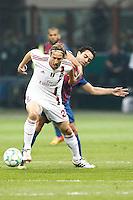 MILANO 28 MARZO 2012, MILAN - BARCELLONA,QUARTI DI FINALE UEFA CHAMPIONS LEAGUE 2011 - 2012, NELLA FOTO: DUELLO AMBROSINI -XAVI , FOTO DI ROBERTO TOGNONI.