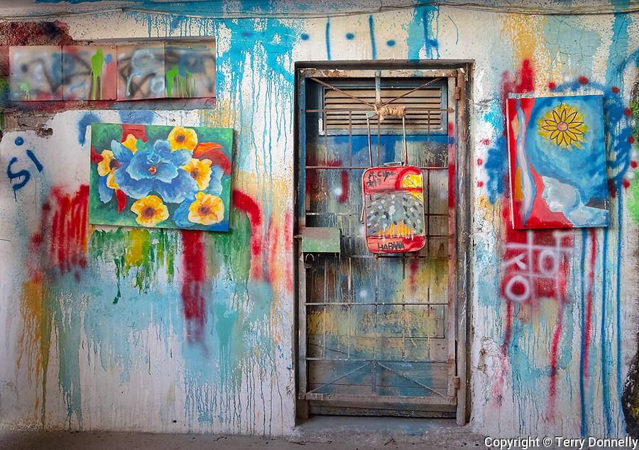 Havana, Cuba:<br /> Wall detail