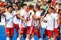 England players celebrate their teams 5th goal during the Hockey World League Semi-Final Pool A match between England and Malaysia at the Olympic Park, London, England on 17 June 2017. Photo by Steve McCarthy.