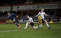 10th March 2020; Dens Park, Dundee, Scotland; Scottish Championship Football, Dundee FC versus Ayr United; Oliver Crankshaw of Dundee shoots and scores for 2-0 in the 91st minute