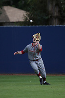 Blake Clanton (17) of the Washington State Cougars catches a fly ball against the Loyola Marymount Lions at Page Stadium on February 26, 2017 in Los Angeles, California. Loyola defeated Washington State, 7-4. (Larry Goren/Four Seam Images)