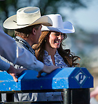 July 7, 2011 - Calgary, Alberta, Canada - Catherine Middleton, Duchess of Cambridge talks to a rodeo participant at the Calgary Stampede grounds in front of BMO centre. Calgary is the last Canadian stop of the British Royal Tour. Photo by Jimmy Jeong / Rogue Collective