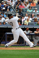 New York Yankees outfielder Andruw Jones #18 during a game against the Baltimore Orioles at Yankee Stadium on September 5, 2011 in Bronx, NY.  Yankees defeated Orioles 11-10.  Tomasso DeRosa/Four Seam Images