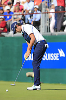 Nacho Elvira (ESP) putts on the 18th green during Saturday's Round 3 of the 2018 Omega European Masters, held at the Golf Club Crans-Sur-Sierre, Crans Montana, Switzerland. 8th September 2018.<br /> Picture: Eoin Clarke | Golffile<br /> <br /> <br /> All photos usage must carry mandatory copyright credit (&copy; Golffile | Eoin Clarke)