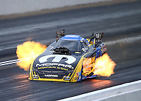May 20, 2016; Topeka, KS, USA; NHRA funny car driver Matt Hagan runs the quickest and fastest run in history with a 3.862 second time at 335.57 mph during qualifying for the Kansas Nationals at Heartland Park Topeka. Mandatory Credit: Mark J. Rebilas-USA TODAY Sports