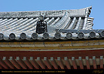 Kodo Lecture Hall roof detail, Onigawara Demon Troll Tile, Toji East Temple, Kyoto, Japan