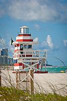 Lifeguard stand on beach at South Pointe, South Beach, Florida, USA. Photo by Debi Pittman Wilkey