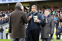 BBC TV pundits Jeremy Guscott (centre) and Gareth Davies talk to John Inverdale during the RBS 6 Nations match between Ireland and England at the Aviva Stadium, Dublin on Sunday 10 February 2013 (Photo by Rob Munro)
