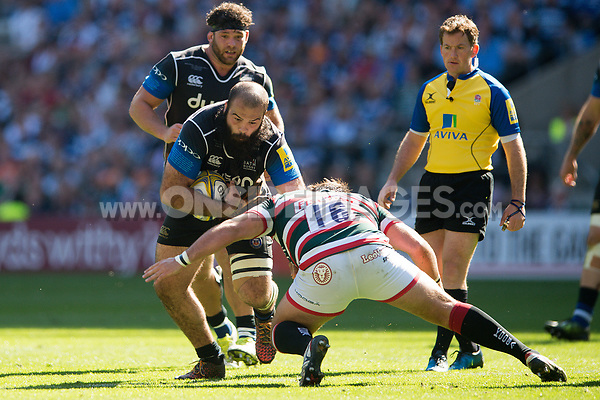 Kane Palma-Newport of Bath Rugby takes on the Leicester Tigers defence. The Clash, Aviva Premiership match, between Bath Rugby and Leicester Tigers on April 8, 2017 at Twickenham Stadium in London, England. Photo by: Patrick Khachfe / Onside Images