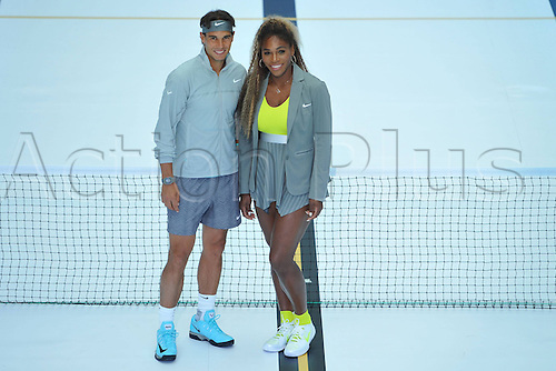 23.05.2014. Molitor Swimming Pool, Paris, France. US tennis player Serena Williams (L) and Spain's tennis player Rafael Nadal are pictured after exchanging balls on a tennis court set up in a swimming pool at the Molitor luxury swimming pool complex in Paris as part of a Nike Tennis promotion