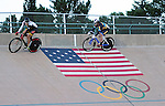 September 17, 2015 - Colorado Springs, Colorado, U.S. - Match sprint racers attempt to outwit each other during a qualifying round during the USA Cycling Collegiate Track National Championships, United States Olympic Training Center Velodrome, Colorado Springs, Colorado.